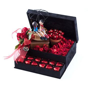- Büyük Boy Siyah Çekmeceli Spesiyal Çikolata Kutusu - Biblo Hediyeli