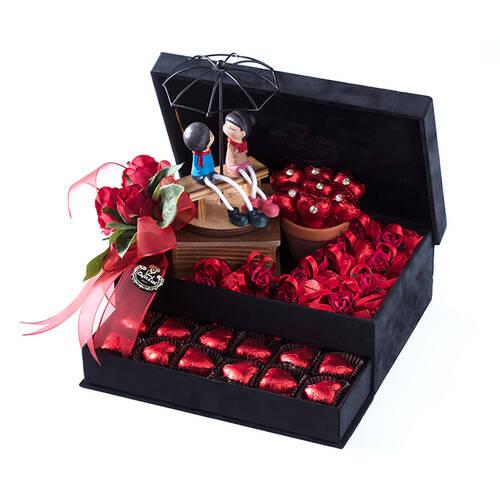 Büyük Boy Siyah Çekmeceli Spesiyal Çikolata Kutusu - Biblo Hediyeli