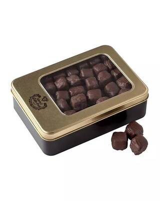 Çikolata Kaplı Çifte Kavrulmuş Antep Fıstıklı Lokum – Pencereli Teneke Kutu
