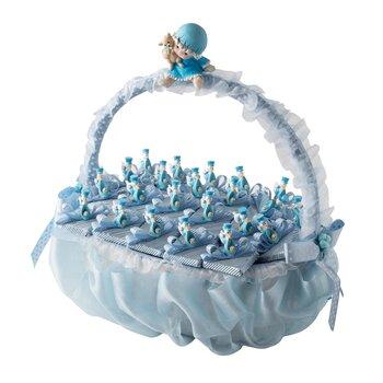 - Dikdörtgen Saplı Mavi Bebek Doğum Sepeti 22 Adet Çikolatalı