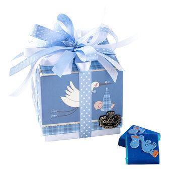 - Erkek Bebek Doğum Hediyesi Çikolata Leylek Kutu - 9 Adet