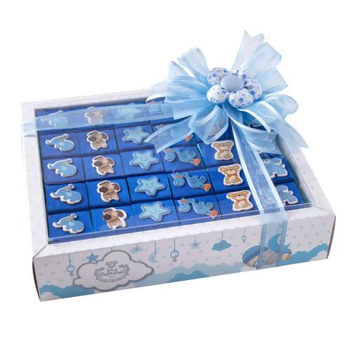 Erkek Bebek Doğum Hediyesi Dekorlu Çikolata - 30 Adet