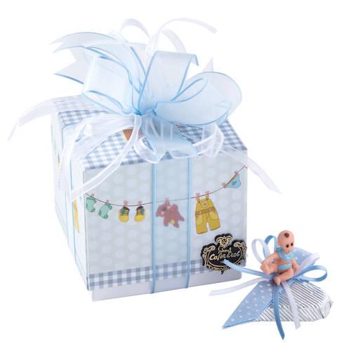 Erkek Bebek Doğum Hediyesi Dekorlu Çikolata Pantolon Kutu - 9 Adet