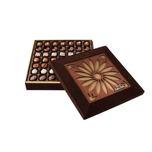 Hediyelik Spesiyal Çikolata Lazer Kesim Kahverengi Kutu