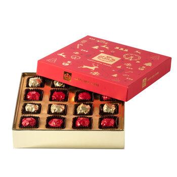 - Kırmızı Yeni Yıl Kutusu Elmas Çikolata