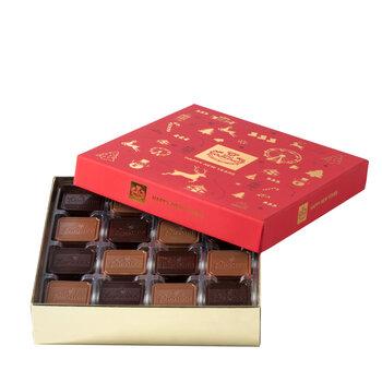 - Kırmızı Yeni Yıl Kutusu Madlen Çikolata