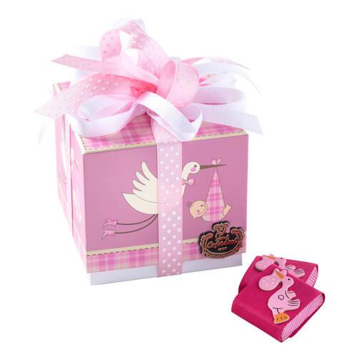 Kız Bebek Doğum Hediyesi Çikolata Leylek Kutu - 9 Adet