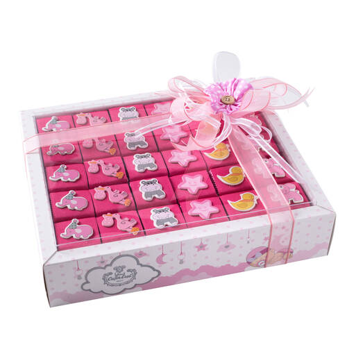 Kız Bebek Doğum Hediyesi Dekorlu Çikolata - 30 Adet