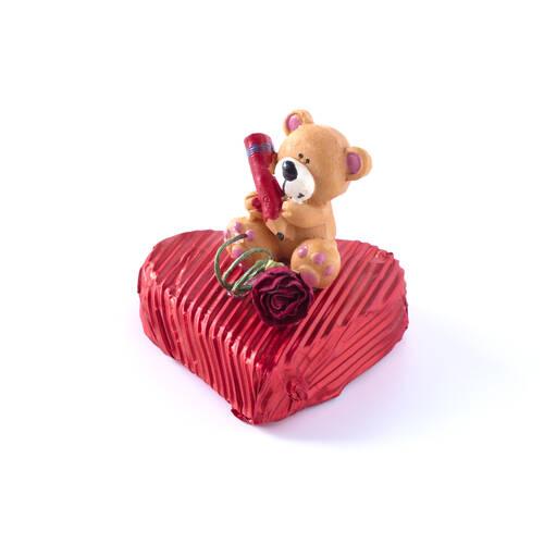 Sevgililer Günü Çikolatası Kalp 3 Adet - Kalem Tutan Ayıcık