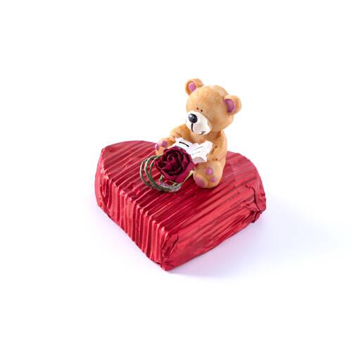 Sevgililer Günü Çikolatası Kalp 3 Adet - Kitap Okuyan Ayıcık