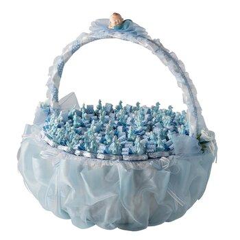 - Yuvarlak Büyük Boy Saplı Mavi Bebek Doğum Sepeti 43 Adet Çikolatalı