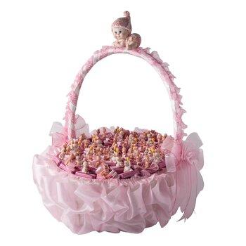 - Yuvarlak Büyük Boy Saplı Pembe Bebek Doğum Sepeti 65 Adet Çikolatalı