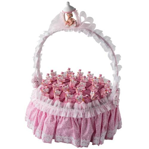 Yuvarlak Orta Boy Saplı Pembe Bebek Doğum Sepeti 25 Adet Çikolatalı